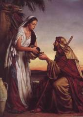 Rebekah offers a drink to Abraham's servant