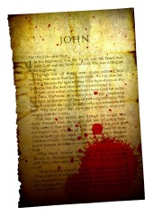 A bloodstained page of the Bible, John chapter 1