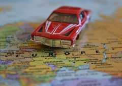 Toy car on a map of europe