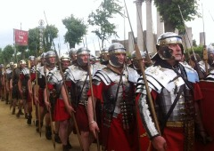 Reenactment of Romans soldiers processing