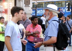 Sharing the gospel with a young man on the street