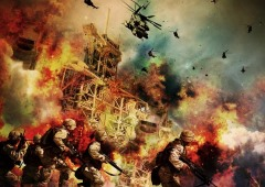 A war scene with soldiers and helicopters