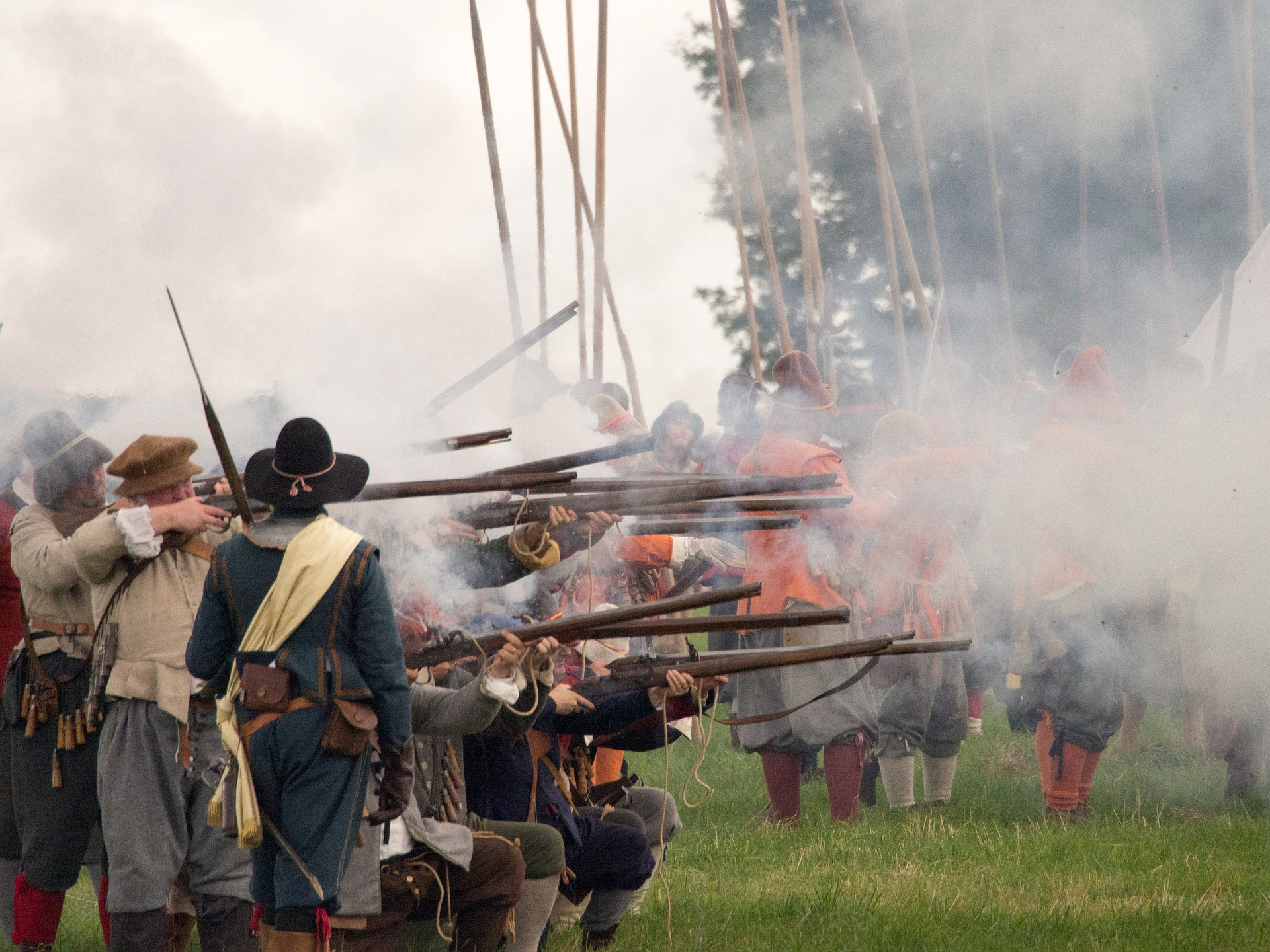 Reenactment of English Civil War battle